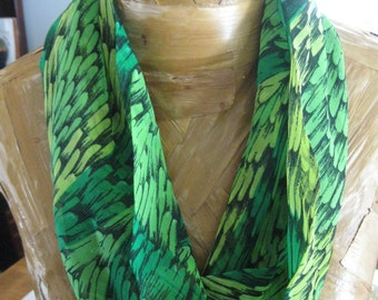 Sale! Vintage 1950's Circle Infinity Cowl Scarf-Made in Japan, Greens, Black Chiffon-Feathers