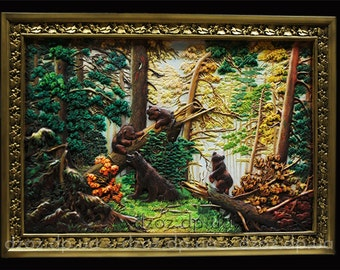 Carved wood panel 3D art oil painting the  Morning in a pine forest picture