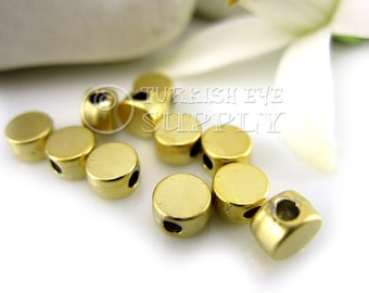 30 Pc Tiny Round Spacer Beads, 22K Gold Plated Plane Round Beads, Findings, Turkish Jewelry