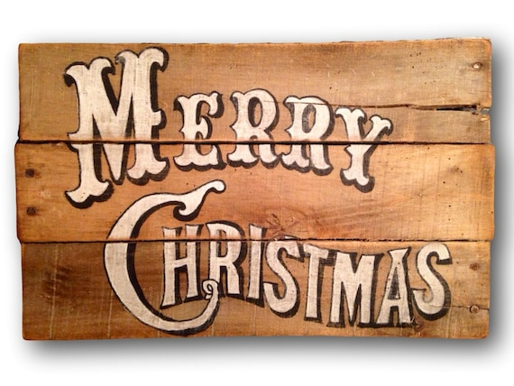 Vintage Merry Christmas Sign Decorations Rustic