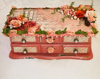 Jewelry Box, Gift for Her, Jewelry Organizer, Ring Holder, Upcycled, Altered Box, Mixed Media, Container, Decorative Box, Decoupage