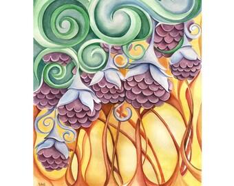 purple flowers watercolor painting, original surreal artwork, flower wall art, yellow purple and green decor