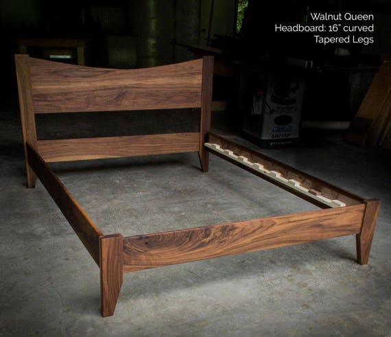 Walnut Simple Platform Bed Frame With Curved Headboard Custom