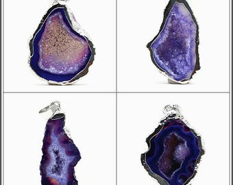 Natural Purple Agate Stone Geode Druzy Pendant with Metal Electroplated Edge - DY00193