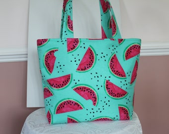Green and Pink Watermelon Tote bag