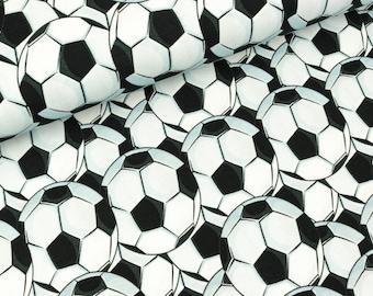 Cotton jersey football small soccer balls black-white (15.90 EUR/meter)