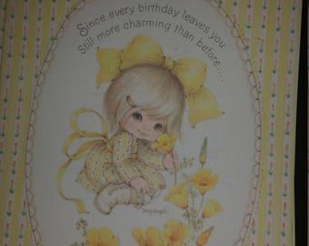 Vintage Greeting Card - Vintage Suzy Angel Angelove Ambassador Greeting Card * Little Girl Picking Yellow Flower