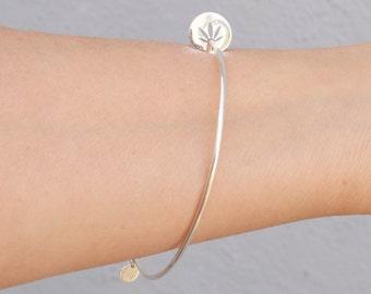 Cannabis bangle bracelet - silver weed bracelet -rose gold cannabis disc bracelet - cutout weed disc - - 420 circle cut out leaf bracelet