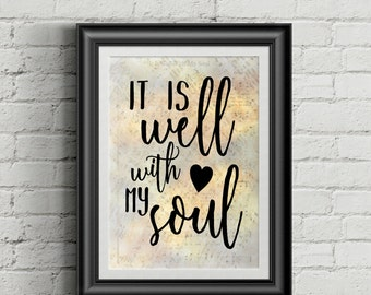 It Is Well With My Soul Digital Hymn Print