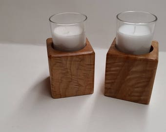 wood candle holders  with candles