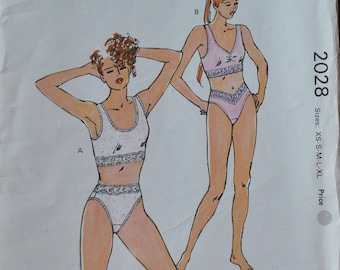 """Vintage 1990 Kwik 2028 Sewing Pattern Crop Camisole and High  Cut Panties Misses Size M Bust 37"""" - 38.5"""""""