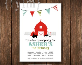 FARM or BARNYARD Printable Party Invitations - I design - YOU print