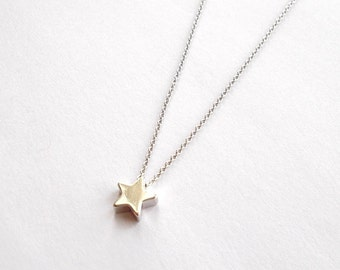 Tiny Silver Star Necklace - Short Necklace or Choker - Thin Dainty Delicate Pendant Necklace - Minimal Everyday Style - Gift For Her