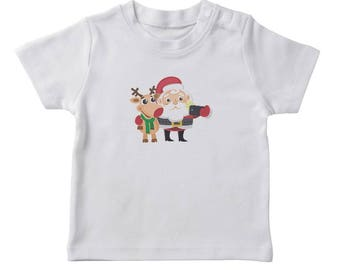 Christmas Santa And Rudolph Selfie  Girl's White T-shirt