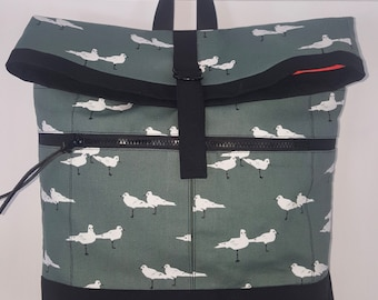 Cotton and Canvas Backpack--fun seagull print and day-glow orange lining