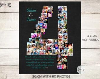Year anniversary heart photo collage nd anniversary gift