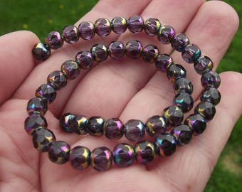 MULTICOLOR CRYSTAL PURPLE 6 MM FACETED BEADS 5 A.