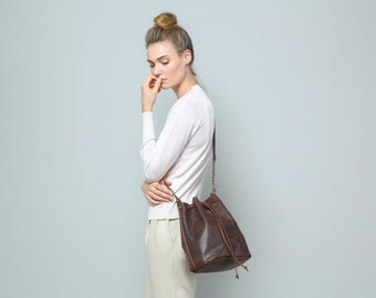 Brown leather Bucket bag, Leather bucket bag, Leather shoulder bag, Dark brown bag, Cross body bucket bag, Free Shipping!