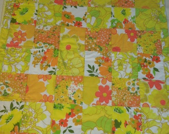 modern patchwork squares baby blanket vintage sheet heirloom keepsake quilt - SUNSHINE yellow orange green white red