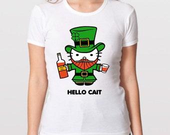 Funny Twist on Hello Kitty White T-Shirt, Hello Cait. Hello Kitty goes to Ireland. St Patrick's Day shirt, Funny hello kitty shirt.