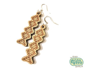 DNA dangle earrings, laser-cut wood jewellery for biologists