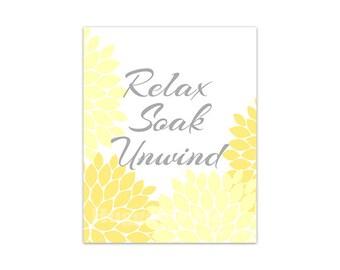 Relax Soak Unwind Bathroom Wall Art, INSTANT DOWNLOAD Bath Art, Printable Modern Bathroom Decor, Yellow Bathroom Decor - BATH86