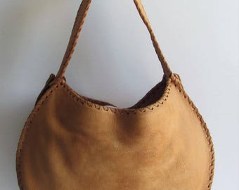 Authentic Shelly Litvak Gorgeous 1695.00 Soft Tan Leather Hobo Bag