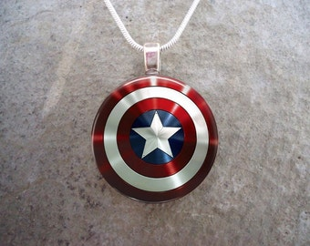 Red, White and Blue Jewelry - Glass Pendant Necklace