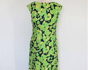 Silk 60s Shift I Magnin Label / Vintage Mod 60s Dress Sleeveless / 1960s Fully Lined  / Navy and Green Print / Party and Wedding / Small