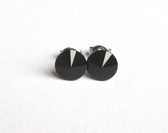 Jet Black Swarovski Crystal Earrings Studs - Rivoli Crystals Stud Gift under 15 Bridesmaid Jewelry