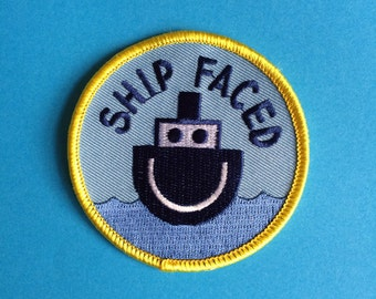 Fun Iron On Patch, Ship Faced Patch, Funny Alcohol Patch, Iron On Boat Patch, Drinking Patch, Gifts For Him, hello DODO Patch, Sew On Patch