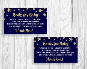 SALE Baby Shower Book Request Cards - Sheet of 3x5 Printable Books for Baby Cards - Twinkle Twinkle Little Star - Midnight Blue Gold Glitter