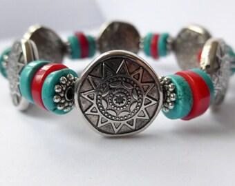 Aztec Arizona Southwestern Cowgirl Style Bracelet Coral- Turquoise- Tibetan silver