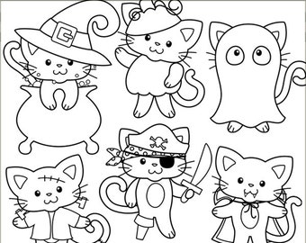 Halloween Clipart Cats in Costume -Personal and Limited Commercial Use- kitty witch, vampire kitty, frakenkitty, black line clip art