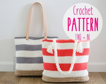 Crochet pattern bag shopper beach bag - Crochet pattern striped bag - English & Dutch - Lining instructions included