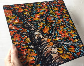 Orange Fall Tree original painting