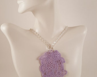 Purple lace necklace Lace jewelry Lilac necklace Bib Necklace Statement necklace Bridesmaids gift Large necklace Bib lace jewelry Necklaces