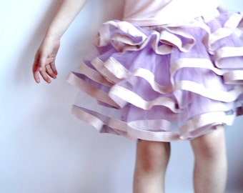 tutu skirt, tulle skirt, girls skirt, princess skirt, flower girls skirt, layered skirt, linen details, dusty pink, handmade skirt