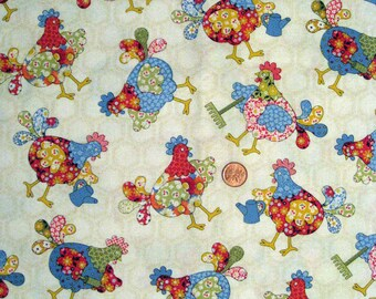 Colorful Rooster print fabric  - half yard x 1