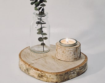 Wood Slice made of birch as a coaster for decoration and other things, wooden plank, hardwood table, ground