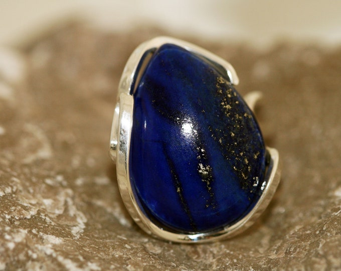 Gorgeous  Lapis Lazuli Ring fitted in sterling silver setting. Handmade & unique.