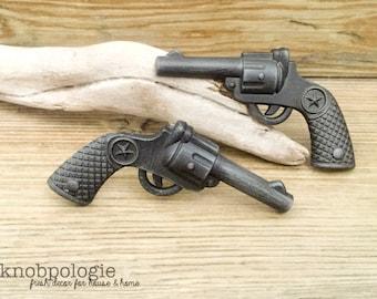 SET OF 2 - Revolver Drawer Knobs - Gunmetal Grey Wild West Cowboy Star Gun Knob Western Texas Star - Cowgirl Drawer Pull - Ranch Nursery