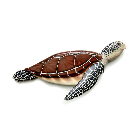 Sea turtle art sculpture  wood carving nautical