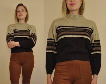 70s Turtleneck Sweater // Mock Neck Sweater // Vintage Colorblock Sweater // 70s Striped Turtleneck // Neutral Brown Earth Tones // Medium