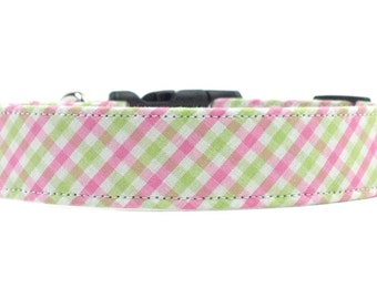 Green and Pink Checkered Gingham Dog Collar