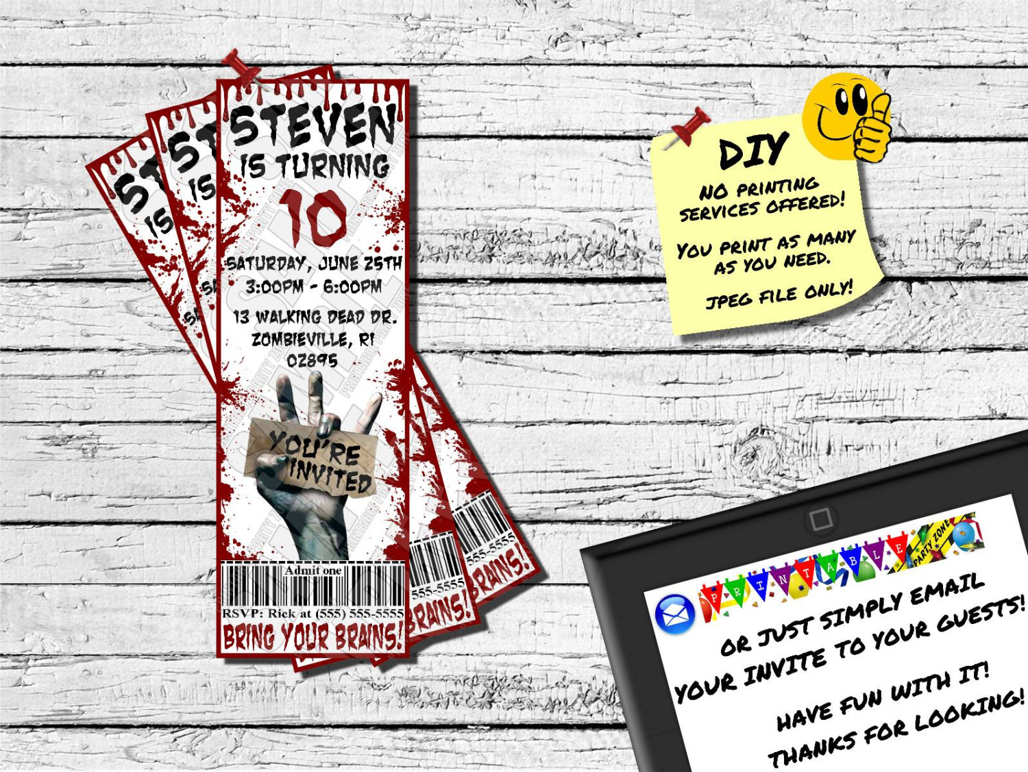 ZOMBIE BIRTHDAY TICKET Invitation. Printable Invite. Emailable