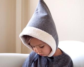 Baby winter hat,  Toddler winter hat, Pixie hat, Cotton Sherpa, Warm kids hat