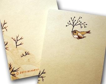Bird NOTEPAD stationery, kraft note pad, cute bird stationary kraft paper note pad, kraft stationery notepad, kraft notepad, Bird stationery