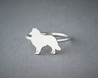SHETLAND SHEEPDOG RING / Collie Ring / Silver Dog Ring / Dog Breed Ring / Silver, Gold Plated or Rose Plated.