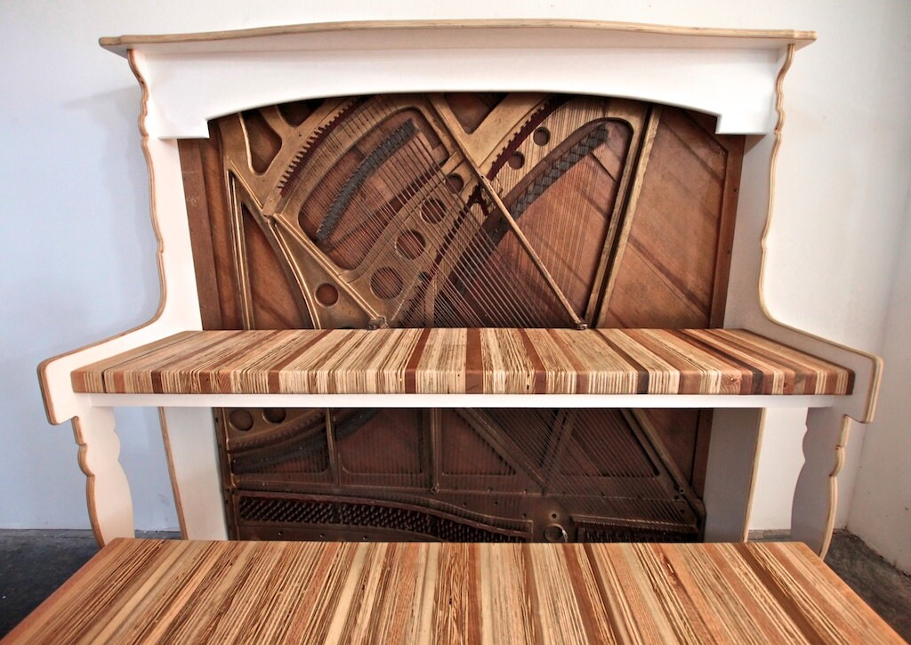 🔎zoom - Vintage Reclaimed Antique Piano Desk For Home Office // IMac